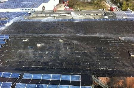 Luftbild Brand einer Photovoltaikanlage in Goch