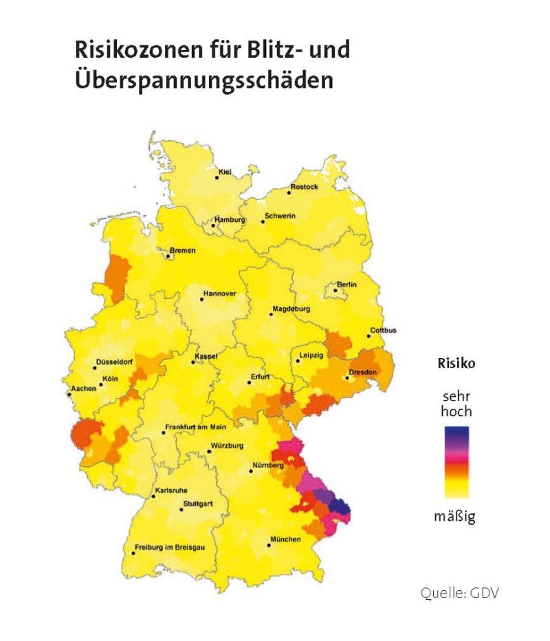 Risikozonen für Blitz- und Überspannungsschäden in Deutsschland (Quelle: GDV)