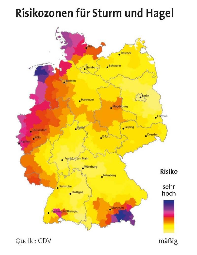 Risikozonen für Sturm und Hagel (Quelle: GDV)